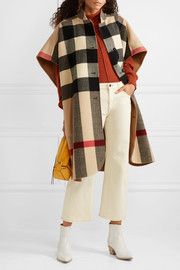 Reversible checked wool-blend cape