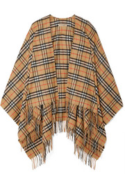 Burberry Fringed checked cashmere and merino wool-blend wrap