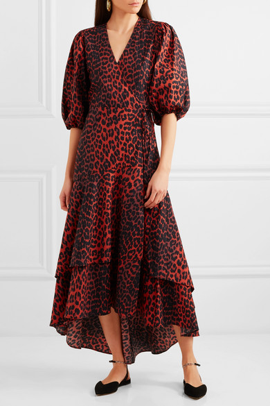Ganni Bijou Leopard Print Cotton Poplin Wrap Dress Net