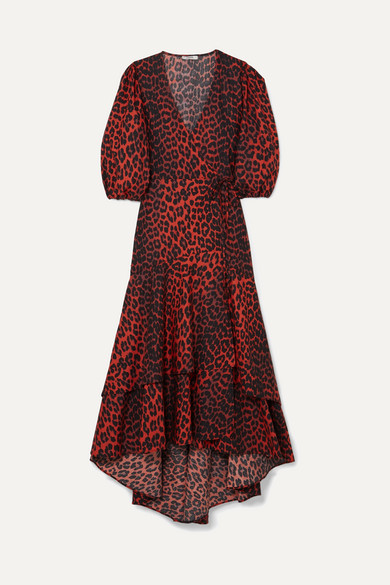 GANNI - Bijou Leopard-print Cotton-poplin Wrap Dress - Leopard print