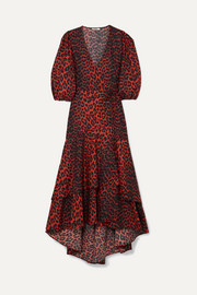 GANNI Bijou leopard-print cotton-poplin wrap dress