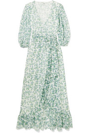 GANNI Tilden floral-print mesh wrap dress