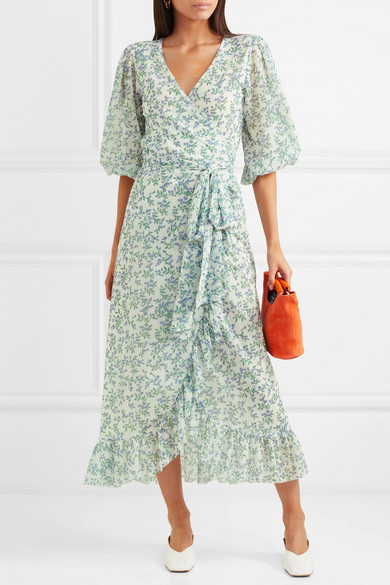 8e77f28c GANNI | Tilden floral-print mesh wrap dress | NET-A-PORTER.COM