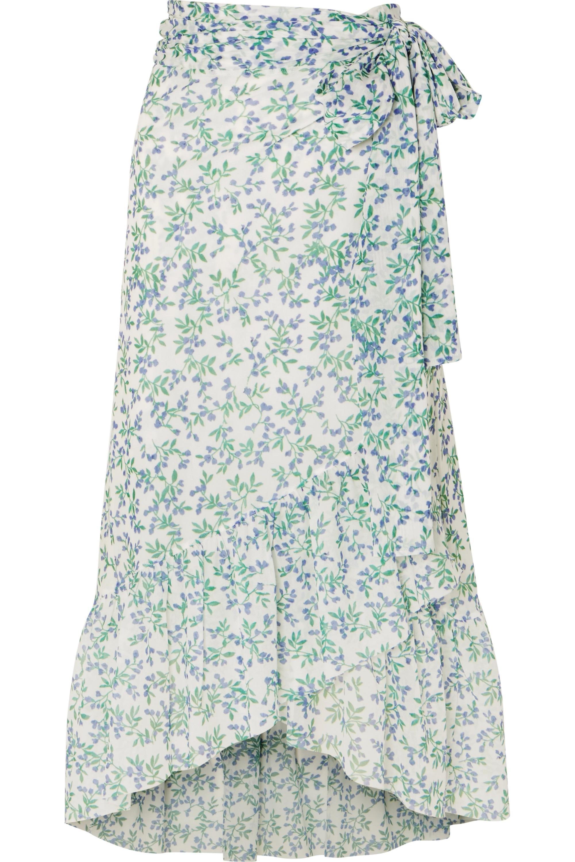 GANNI Tilden floral-print mesh wrap skirt