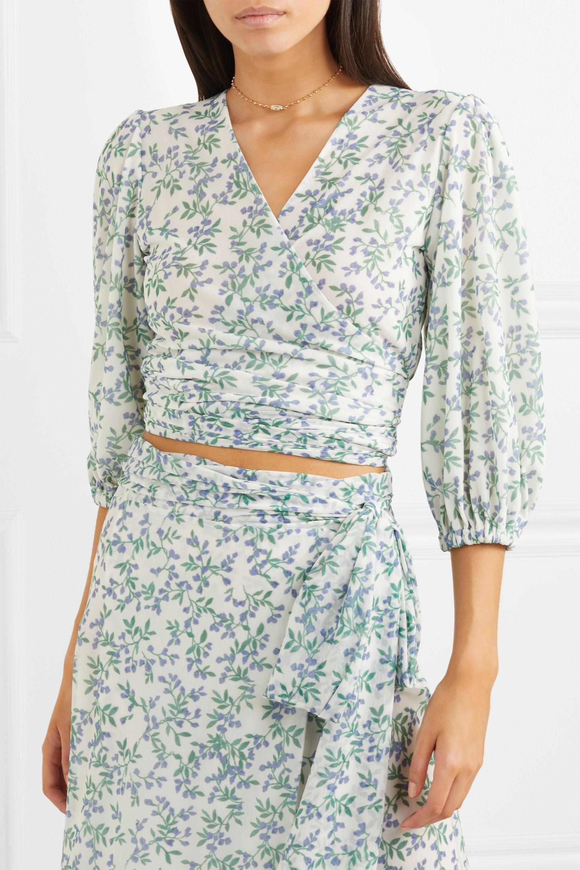 GANNI Cropped floral-print mesh wrap top