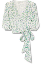 Tilden cropped floral-print mesh wrap top