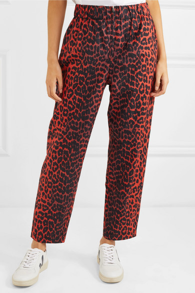 b3ded2a6 GANNI | Leopard-print cotton-twill tapered pants | NET-A-PORTER.COM