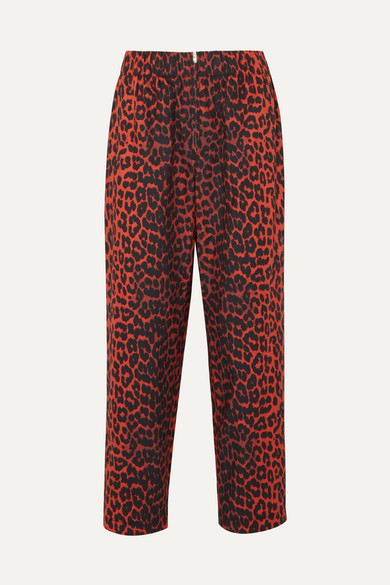 GANNI - Bijou Leopard-print Cotton-twill Tapered Pants - Leopard print