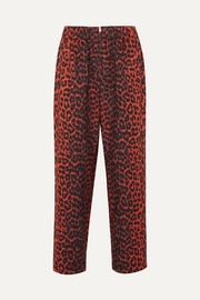 GANNI Bijou leopard-print cotton-twill tapered pants