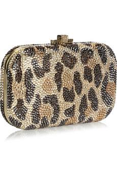 Judith Leiber|Leopard-print fine crystal-embellished clutch|NET-A-PORTER.COM