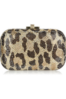 Judith Leiber|Leopard-print fine crystal-embellished clutch|NET-A-PORTER.COM from net-a-porter.com