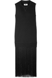 Fringed cotton-terry maxi dress