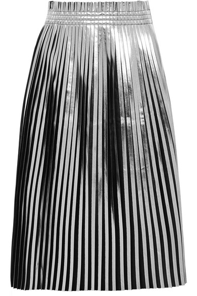Mm6 By Maison Margiela Black And Silver Pleated Faux Leather Skirt