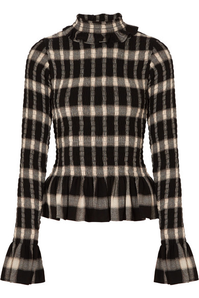 Smocked Checked Jersey Turtleneck Top by Mm6 Maison Margiela