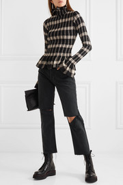 Smocked checked jersey turtleneck top