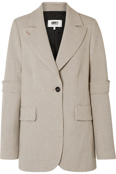 Bonded Jersey Plaid Jacket, Checked Beige