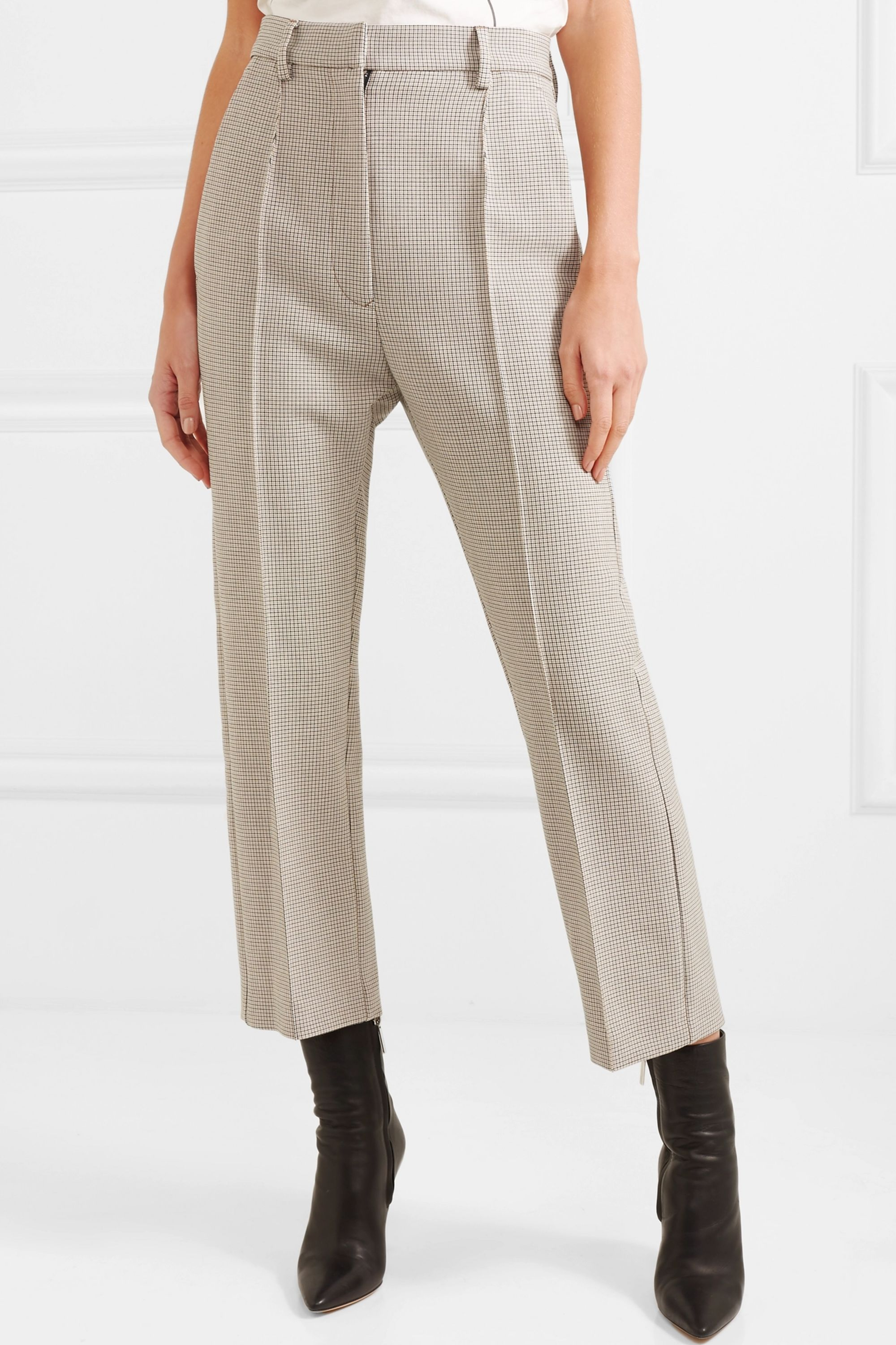 MM6 Maison Margiela Checked stretch-jersey straight-leg pants