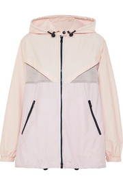 Hooded paneled cotton-blend voile and hammered-satin jacket