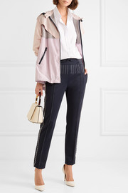 Valentino Hooded paneled cotton-blend voile and hammered-satin jacket