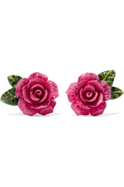Enamel clip earrings