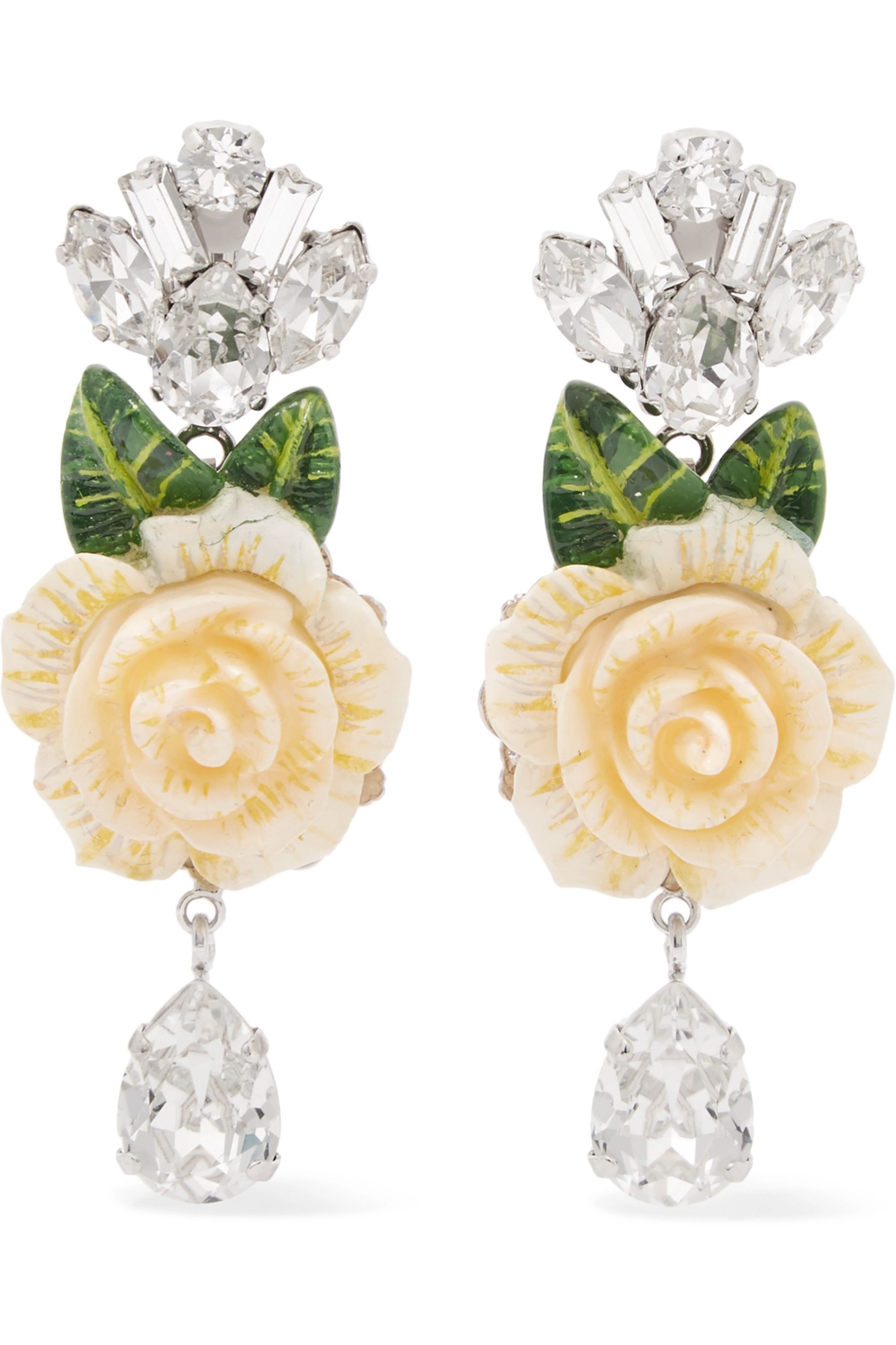 Dolce & Gabbana Silver-plated, enamel and crystal clip earrings