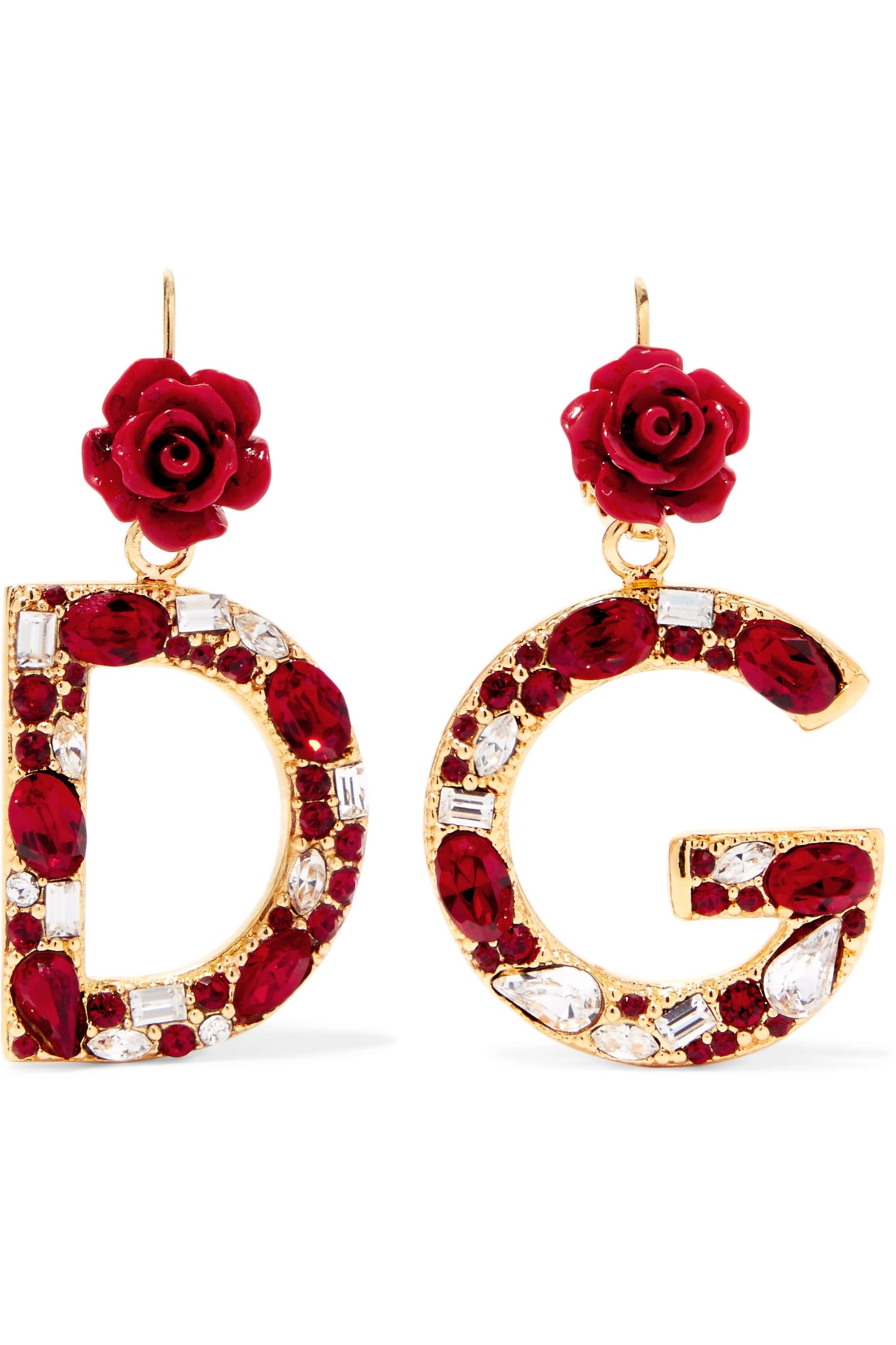 Dolce & Gabbana Gold-plated, enamel and crystal earrings
