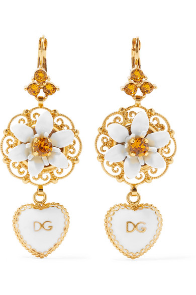 DOLCE & GABBANA Dolce And Gabbana Gold And White Heart Flower Earrings