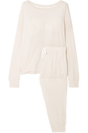 DKNY Embroidered cotton-blend pajama set