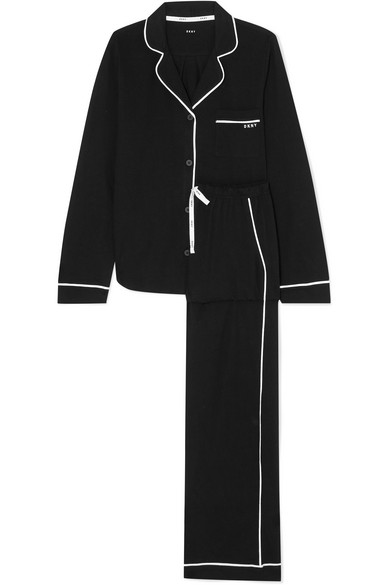 DKNY SIGNATURE COTTON-BLEND JERSEY PAJAMAS