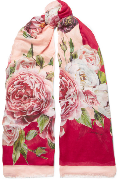 DOLCE & GABBANA FLORAL-PRINT MODAL AND CASHMERE-BLEND SCARF