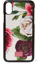 Floral-print textured-leather iPhone X case