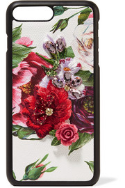 Embellished floral-print textured-leather iPhone 7 and 8 Plus case