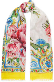 Dolce & Gabbana Maiolica printed modal and cashmere-blend scarf