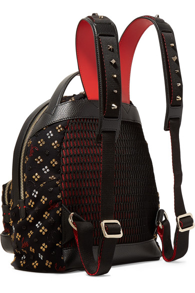 ef0857253d7 Backloubi leather-trimmed studded canvas-jacquard backpack