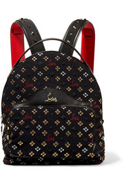 Backloubi leather-trimmed studded canvas-jacquard backpack