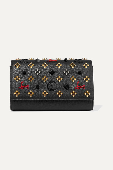PALOMA EMBELLISHED TEXTURED-LEATHER CLUTCH