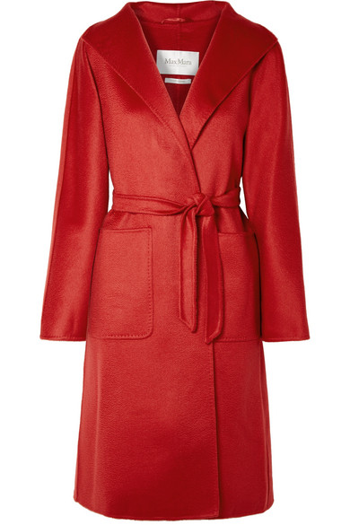 Lilia Belted Brushed Cashmere Coat by Max Mara
