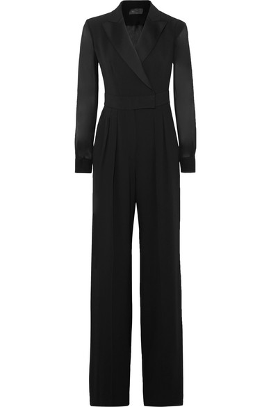 Silk Chiffon-Paneled Crepe Jumpsuit in Black