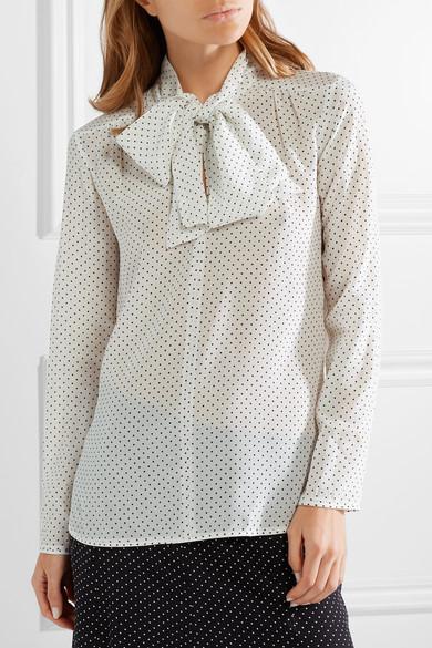 435fd4f8024b3 Max Mara. Polka-dot silk crepe de chine and stretch-jersey blouse