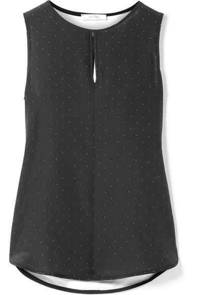 Polka Dot Silk And Stretch Jersey Top by Max Mara