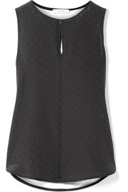 Polka-dot silk and stretch-jersey top