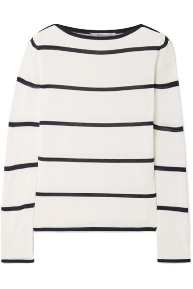 Striped Stretch-Knit Sweater, Ivory