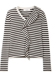 Ruffled striped silk and cashmere-blend sweater