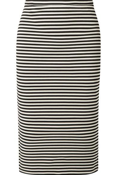 Striped Stretch-Knit Pencil Skirt, Silver