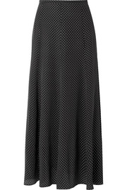 Polka-dot silk crepe de chine midi skirt