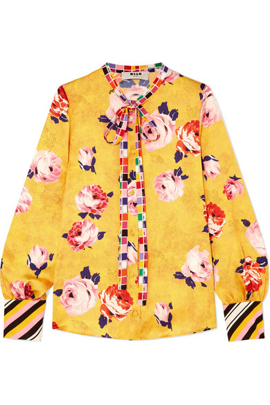 MSGM Floral-Print Satin Blouse in Yellow