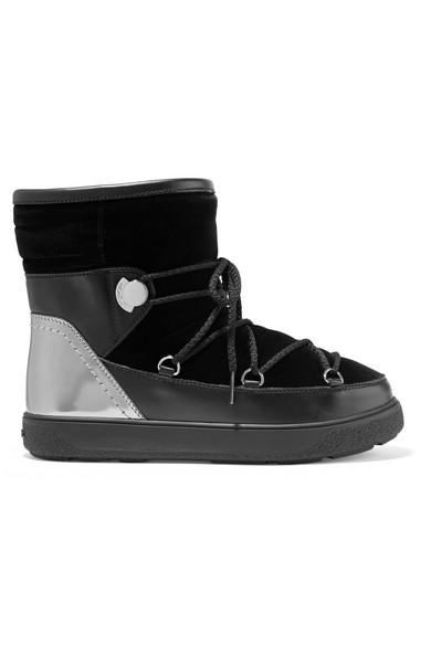 Moncler - Stephanie Leather-trimmed Velvet Boots - Black