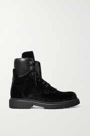 Moncler Patty leather-trimmed velvet ankle boots