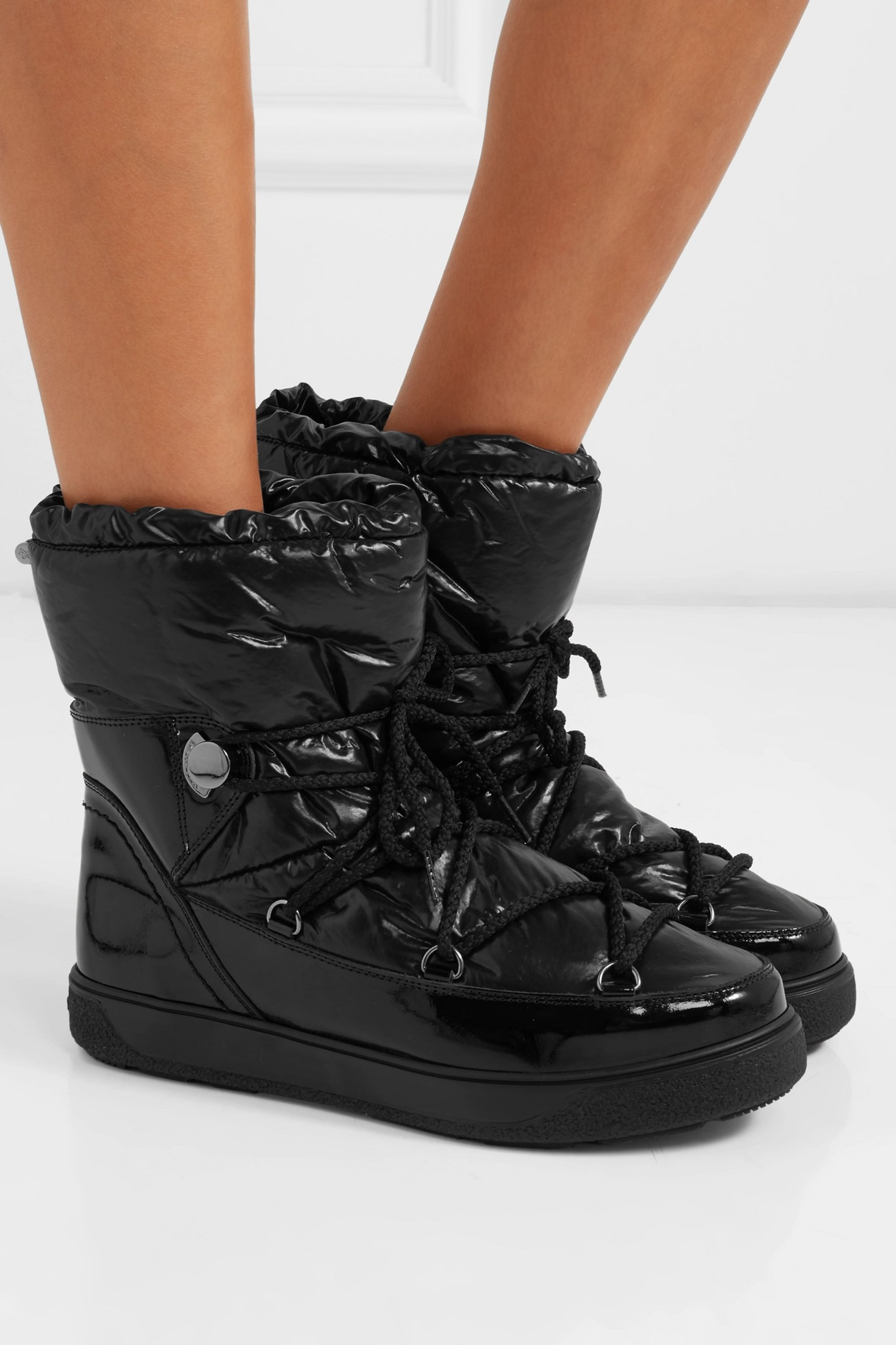 Moncler Shell and patent-leather snow boots