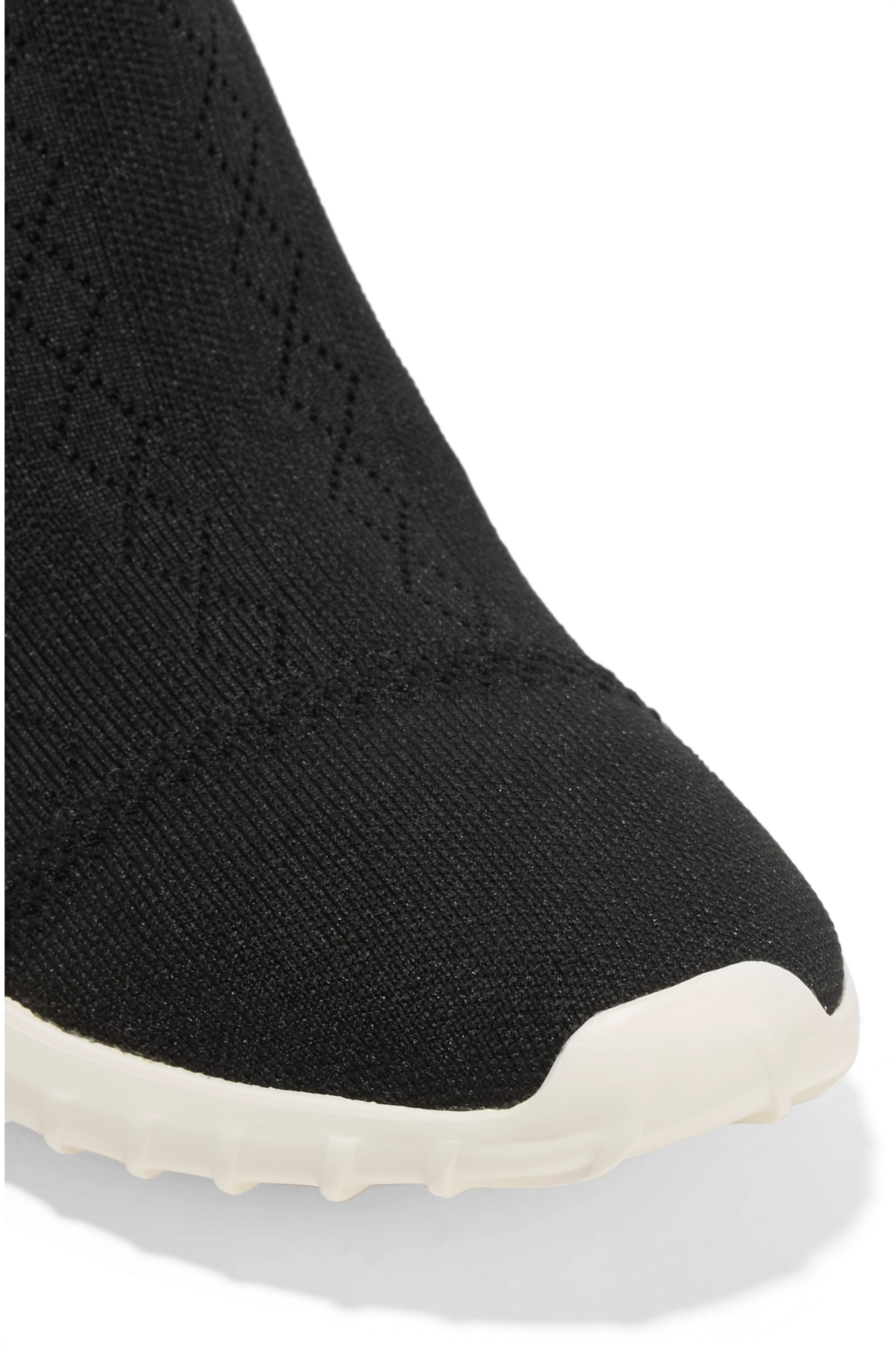Moncler Giroflee leather-paneled stretch-knit slip-on sneakers